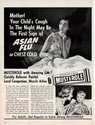Vintage Advertising Print Ad Musterole Medicine Asian Flu Chest Cold 1957 Ad
