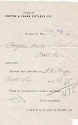 U.s. Kansas City Curtin And Clark Cutlery Co. 1913 Paid Perforated Invoice Rf42077