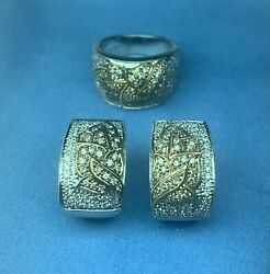 3 Piece 14 Kt. White And Yellow Gold Earrings And Ring Set