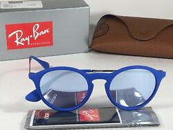 New Authentic Ray Ban Round Phantos Sunglasses Matte Blue Gray Flash Lens RB4243