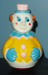 Vintage Roly Poly Weeble Wobble Clown Toy - Musical Chimes - Hong Kong