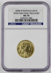 2008 W 10 American Buffalo Burnished 1/4 Oz Gold Coin Ngc Ms70 Early Releases