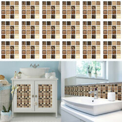 18Pack Mosaic Self adhesive Bathroom Kitchen Decor Home Wall 3D Tile Stickers