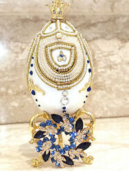 Luxury Russian Faberge Egg Carousel Musical Handcarve Real Egg Sapphire 24k Gold