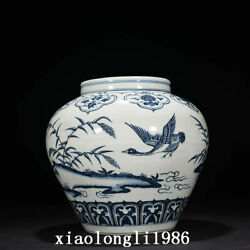 12.8 Chinese Hand Drawn Ming Dynasty Blue And White Wild Goose Map Big Pot