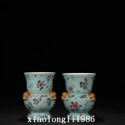 7.2 A Pair Chinese The Qing Dynasty Hand Drawn Pastel Flower Pattern Vase