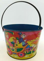 Beautiful Vintage Japanese Tin Sand Pail- Princess In Carriage Pulled By Ostrich
