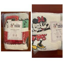 Pottery Barn Kids/teen Holiday Mickey And Minney Mouse F/q Quilt + 2 Std Shams