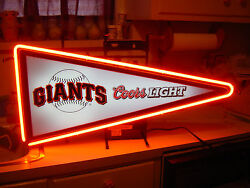 Authentic Very Rare Coors Giants Baseball Pennant Neon Sign Bud