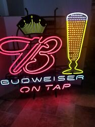 Budweiser Beer Motion Moving Flashing Animated Glass Filling Neon Light Up Sign