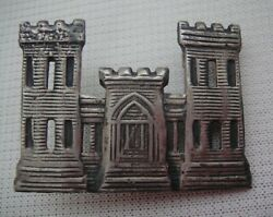 Vintage Sterling Silver Army Corps Of Engineers Pin - 1-1/2 X 1