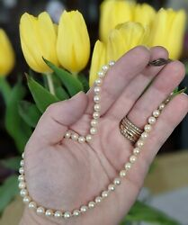 Vintage 1968 Pearl Necklace Choker W/ Sterling Clasp, Original Case And Paperwork
