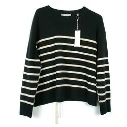 New Vince Womens Small Cashmere Sweater Black Stripe Boxy Crew Neck Ties