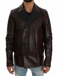 Dolceandgabbana Men Brown Jacket Leather Solid Lined Casual Trench Coat Size It 48