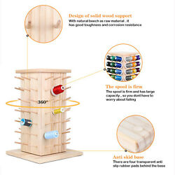 84 Spools 360° Fully Rotating Wooden Thread Rack Embroidery Thread Holder