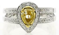 .74ct White And Fancy Yellow Diamond 18k 2 Tone Gold 3d Pear Shape Engagement Ring