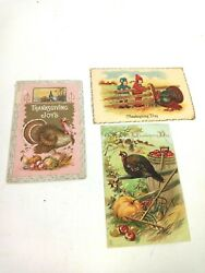 Vintage Thanksgiving Post Cards/ Lot Of 3