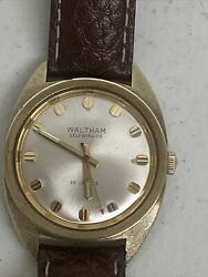 Vintage Waltham 25j Self-winding Menand039s Wristwatch Red Point Second Hand/running