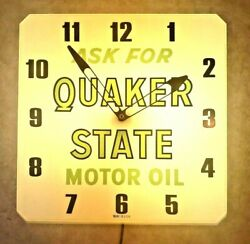 Vintage 1960and039s Quaker State Motor Oil Gas Station 16 Clock Light Sign Works Euc