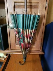 Vintage Japanese Hand Painted Rice Paper Bamboo Parasol Plus 4 Japanese Fans