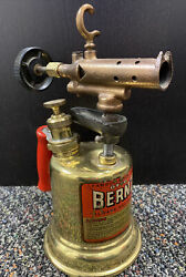 Vintage Otto Bernz Brass Blowtorch Red Handle Rochester Ny Usa Clean Torch