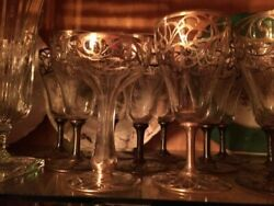 Antique Dinnerware Sterling Silver Inlaid Goblets And Champagne Glas - 2600