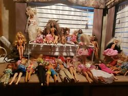 Lot Of 35 Vintage Loose Barbie And Ken Dolls W/ Outfits - Dated 1966 1999 1993