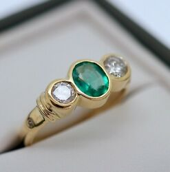 Vintage Jewellery 18k Gold Ring Natural Diamonds Emerald Antique Jewelry L1/2
