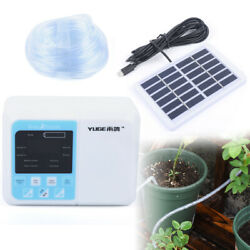 Solar Powered Self-watering Auto Drip Irrigation System Dual Pump Home Garden Us