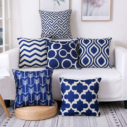 Set Of 6 Burlap Decorative Pillow Covers 18X18 Inch Square Modern Double Navy