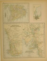 1897 Antique Map Tasmania Hobart Settled Portions Of Western Australia And South