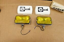 Pair Vintage Cibie Series 135 Fog Lamps W/ Covers, Box, Instructions Nos Amber