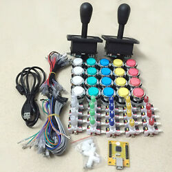 2 Player Led Arcade 1up Buttons And Joysticks Diy Kit For Mame And Raspberry Pi