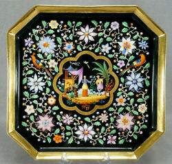 Old Paris Hand Painted Chinoiserie Figures And Birds Floral Black And Gold Tea Tray