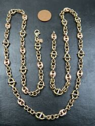 Vintage 14ct Gold Fancy And Fancy Anchor Link Necklace Chain 32 Inch C.1990