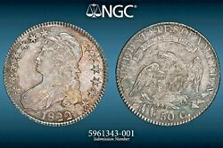 1822/1 Capped Bust Half Ngc Ms62 O-101 Lustrous Tone Ngc Census 2/2 Spectacular