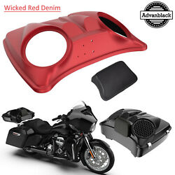 Wicked Red Denim Dual 8and039and039 Speaker Lids For Advanblack/harley Chopped Tour Pack