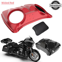 Wicked Red Dual 8and039and039 Speaker Lids For Advanblack/harley Chopped Tour Pak Pack