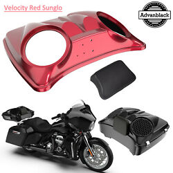 Velocity Red Sunglo Dual 8and039and039 Speaker Lids For Advanblack/harley Chopped Tour Pak