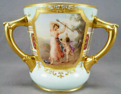 Straus Royal Vienna Style Signed Garlo Terpsichore And Cupid Loving Cup C. 1904-24