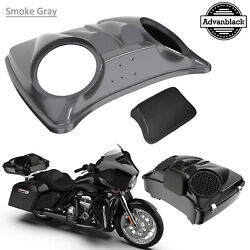 Smoke Gray Dual 8and039and039 Speaker Lids For Advanblack/harley Chopped Tour Pak Pack