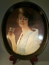 """Vintage Drink Coca Cola""""gibson Girl"""" Oval Tin Tray 1973, Approx 15 X 11"""
