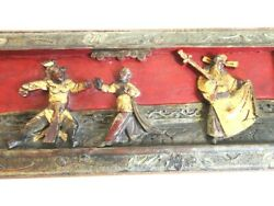 Antique Chinese Carved Wood Panel-- Asian Artwork With Original Paint - 1800and039s