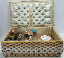 Vintage Large Sewing Basket Case With Clear Plastic Insert Many Notions Gizmos