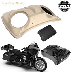 Sand Camo Denim Dual 8and039and039 Speaker Lids For Advanblack/harley Chopped Tour Pack