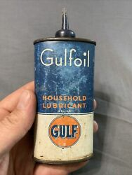 Vintage Gulfoil Gulf Oil Household Lubricant 4 Oz Auto Oil Can Tin Pittsburgh Pa