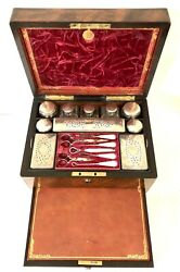 Antique Victorian Rosewood And Brass Vanity Box With Fitted Interior And Drawer
