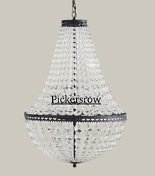 New Pottery Barn Mia Crystal Small Round Pendant Chandelierbronze Finish