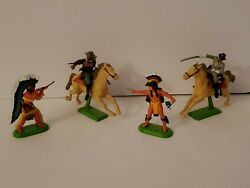 Vintage 1971 Britains Deetail Cowboys And Indians Lot 4 Made In England, 54 Mm