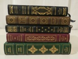 Lot Of 5 Franklin Library Leather For Decor Paradise Lost Bovary Keats Tom Jones